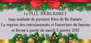 Le PLLL Tours Basket Vous Souhaite de Joyeuses Fêtes de Fin d'Année