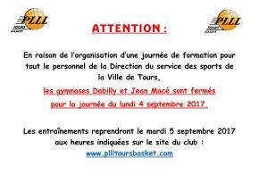 Fermeture des Gymnases Jean Macé et Dabilly le Lundi 4 Septembre2017