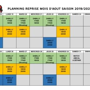 Planning de Reprise Mois d'Août Saison2019/2020