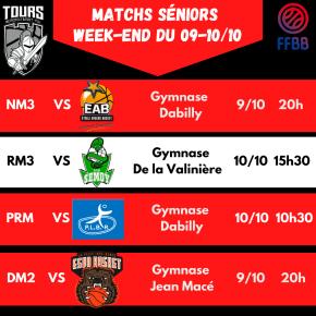 Matchs Seniors du 9 et 10 Octobre2021